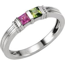 stackable mothers rings 2 stackable s ring with princess cut gemstones