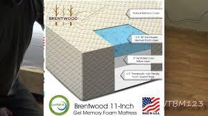 brentwood 11 inch gel infused hd memory foam mattress youtube
