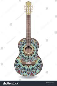 guitar decorated ethnic ornaments design style stock vector
