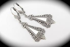 art nouveau design earrings antiqued brass earrings silver tone