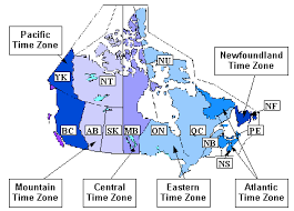 canadian map with time zones time zones
