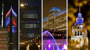 diamond city halloween chicago buildings light up for the cubs postseason chicago tribune