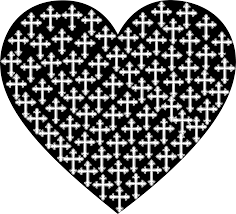 coloring pages of a heart clipart love heart crosses silhouette