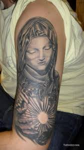 half sleeve tattoo design of illuminated virgin mary christian