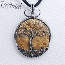 pendant wire necklace images Fossil coral necklace wire wrapped tree of life pendant jpg