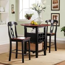 Black Bistro Table And Chairs Kitchen Table Set Elegant Tall Dining Tables For Small Spaces