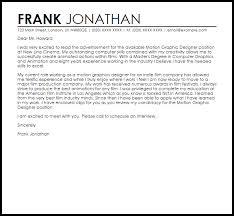 graphic designer cover letters motion graphic designer cover letter sle livecareer