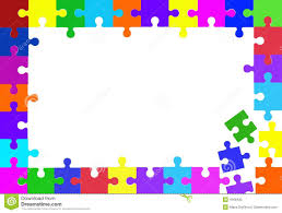 colorful rainbow puzzle pieces forming a frame stock vector
