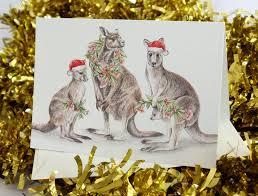 australian christmas card with kangaroo family eucalypt gum