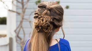 flower half up hairstyle tutorial cute girls hairstyles youtube