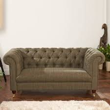 chesterfield leather or tweed sofa two or three seater by the