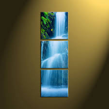 Home Decor Canvas Art by 3 Piece Green Scenery Nature Waterfall Art
