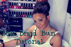 put your hair in a bun with braids box braid tutorial perfect cinnamon bun youtube