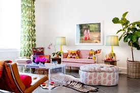 pink tufted ottoman living room contemporary with zebra rug tufted
