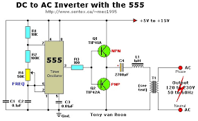 12vdc to 220vac inverter with 555 timer inverter circuit and