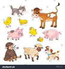 farm set cute baby animals calf stock illustration 429694009