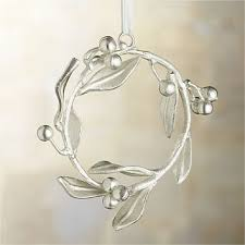 silver mistletoe wreath ornament from crate and barrel holidays