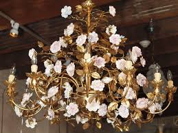 porcelain chandelier roses capodimonte gilt bronze chandelier with porcelain flowers