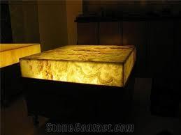 Yellow Reception Desk Translucent Backlit Artificial Onyx Club Square Bar Tops Reception
