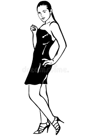 vector sketch of a in a slinky black dress with heels stock