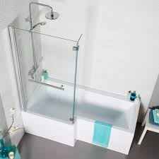 alluring l shape bath tub with frameless shower screen and