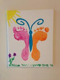 foot print butterfly on canvas handprint art pinterest