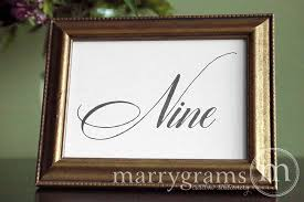 Wedding Table Signs Table Number Wedding Signs Calligraphy Style Marrygrams