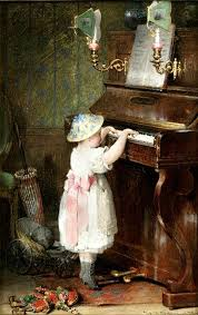 young girl playing piano by hendricus jacobus burghers dutch