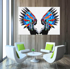 feather home decor 2018 blue feather portrait painting native american indians oil