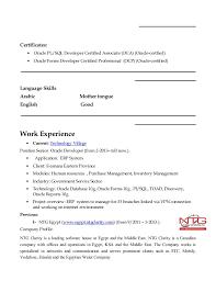 Pl Sql Developer Sample Resume by Resume Of Mostafa Mohammed Shehata