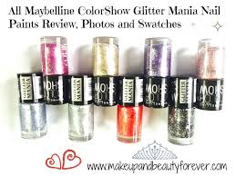Black Paint Swatch Maybelline Colorshow Glitter Mania Nail Paints Review Photos And