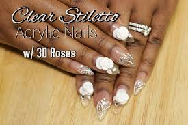 clear short stiletto acrylic nails w 3d roses