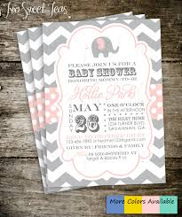 elephant baby shower invitation chevron gray pink by 2sweetteas