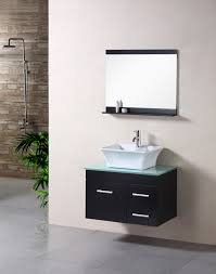 incredible black bathroom vanity with vessel sink using