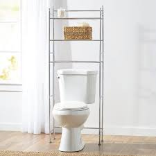 bathroom chromed metal bathroom storage over toilet with wicker