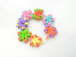 flower band easy diy rubber band jewelry candy color flower loom