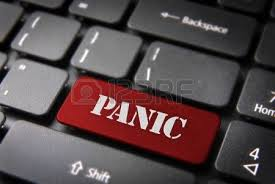 panico testo up of computer keyboard with panic word on the button