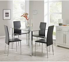 Buy Hygena Fitz Clear Glass Dining Table   Chairs Black At - Glass dining room furniture