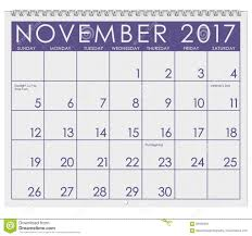 2017 calendar month of november with thanksgiving stock