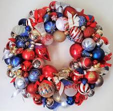crafted 22 patriotic americana glass ornament wreath usa