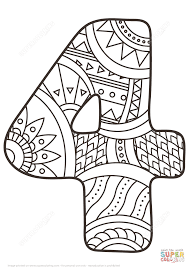 number 4 zentangle coloring page free printable coloring pages