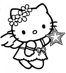 Hello Kitty As Christmas Angel Brings A Star For The Tree Coloring Hello Tree Coloring Page