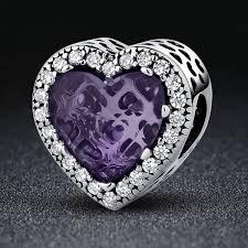 sterling silver bracelet beads charms images 925 sterling silver purple radiant hearts beads charms fit pandora jpg