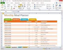 Meal Plan Excel Template Free Monthly Meal Planner For Excel