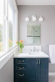 navy bathroom vanity with frameless mirror contemporary bathroom