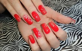 acrylic nails infill l red glitter coffin l nail design youtube