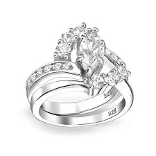 marquise cut wedding set bridal sterling silver 1ct marquise cz engagement wedding ring set