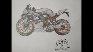 how to draw a ktm rc 200 sports bike step by step youtube