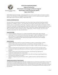 sample resume for adjunct professor position new formal adjunct