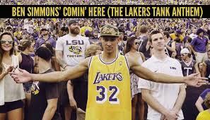 Funny Lakers Memes - ben simmons kanye funny rap lyrics lakers tank anthem